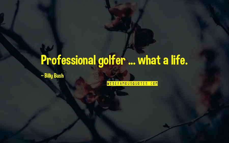 Professional Life Quotes By Billy Bush: Professional golfer ... what a life.