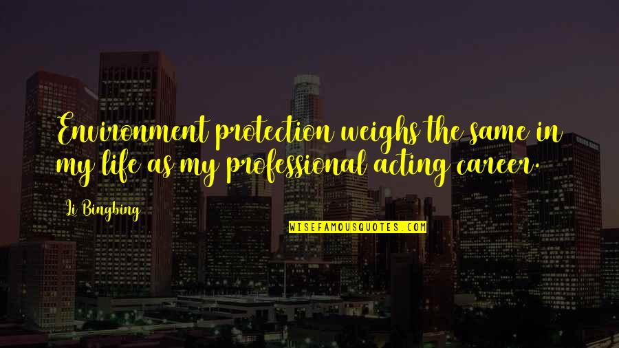 Professional Life Quotes By Li Bingbing: Environment protection weighs the same in my life