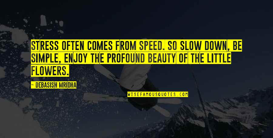 Profound Quotes And Quotes By Debasish Mridha: Stress often comes from speed. So slow down,