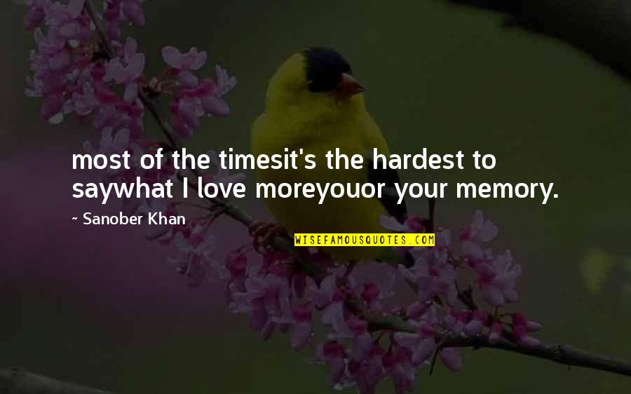 Profound Quotes And Quotes By Sanober Khan: most of the timesit's the hardest to saywhat