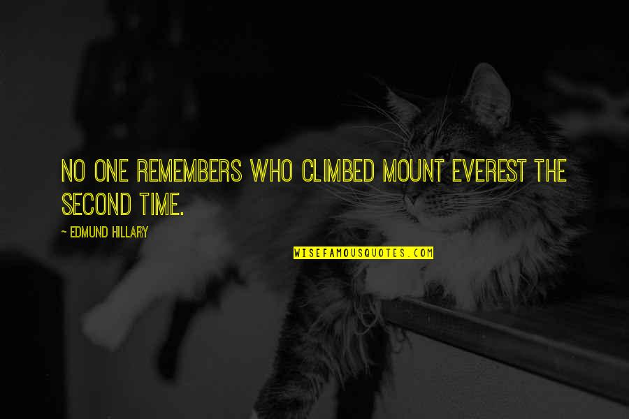 Progess Quotes By Edmund Hillary: No one remembers who climbed Mount Everest the