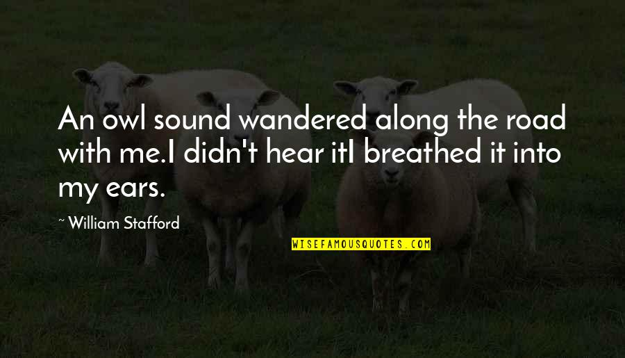 Programmatically Quotes By William Stafford: An owl sound wandered along the road with