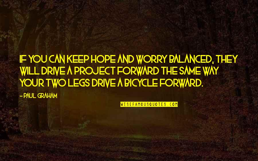Project Inspirational Quotes By Paul Graham: If you can keep hope and worry balanced,