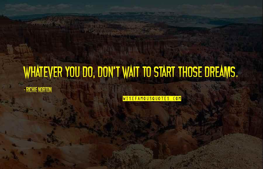Project Inspirational Quotes By Richie Norton: Whatever you do, don't wait to start those