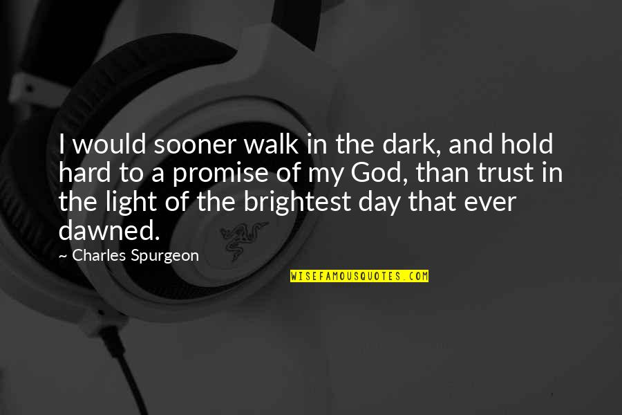 Promise Of God Quotes By Charles Spurgeon: I would sooner walk in the dark, and