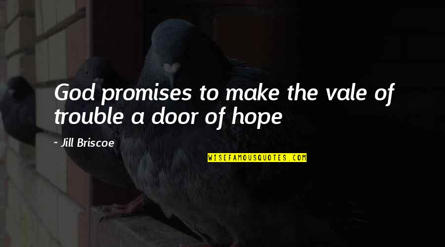 Promise Of God Quotes By Jill Briscoe: God promises to make the vale of trouble