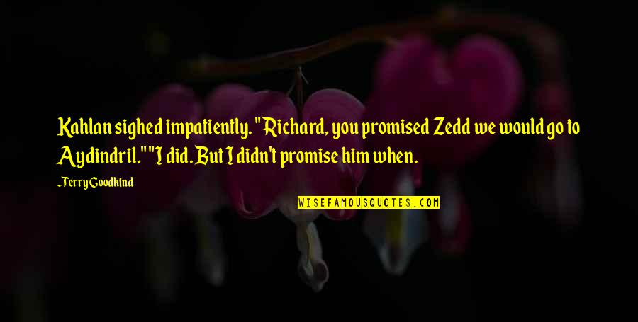 """Promise To You Quotes By Terry Goodkind: Kahlan sighed impatiently. """"Richard, you promised Zedd we"""