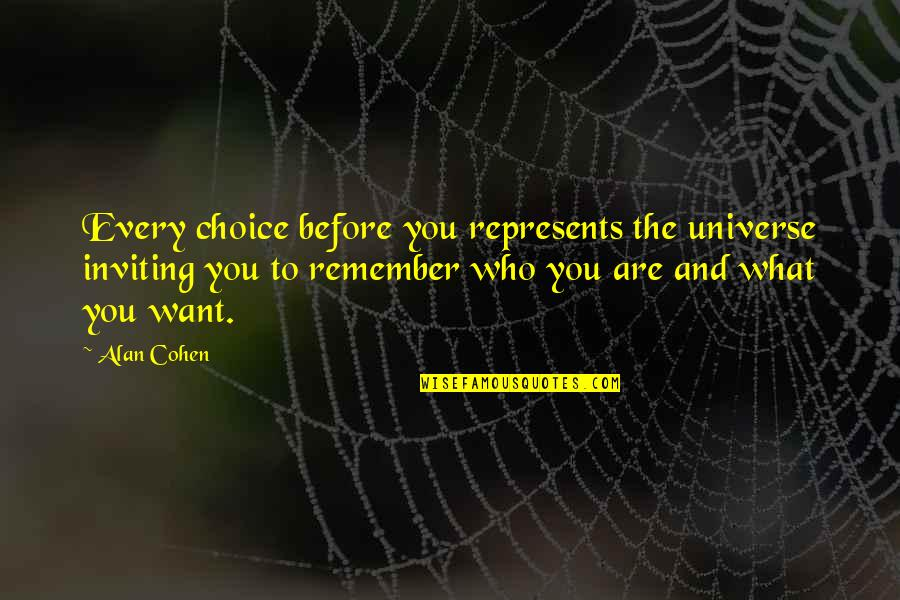 Prompteth Quotes By Alan Cohen: Every choice before you represents the universe inviting