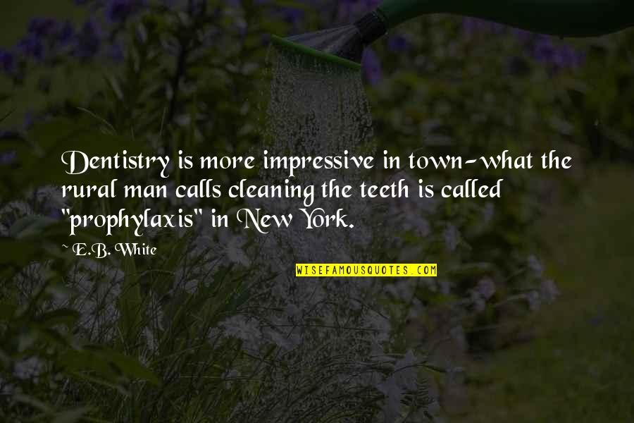 Prophylaxis Quotes By E.B. White: Dentistry is more impressive in town-what the rural