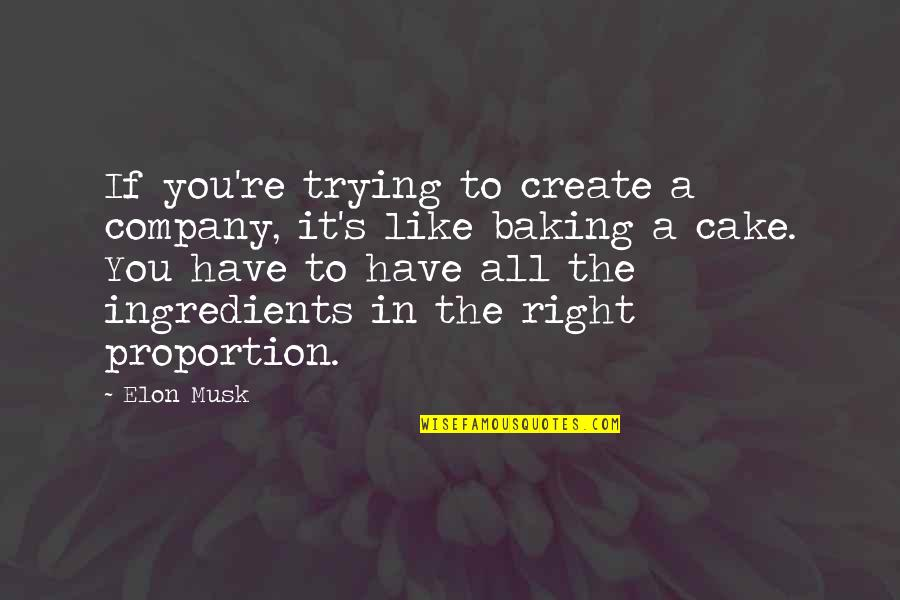 Proportion'd Quotes By Elon Musk: If you're trying to create a company, it's