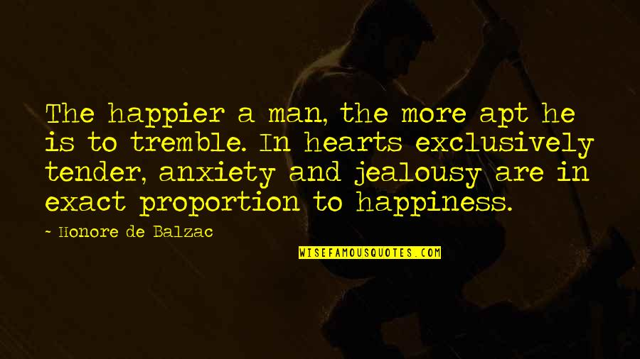 Proportion'd Quotes By Honore De Balzac: The happier a man, the more apt he