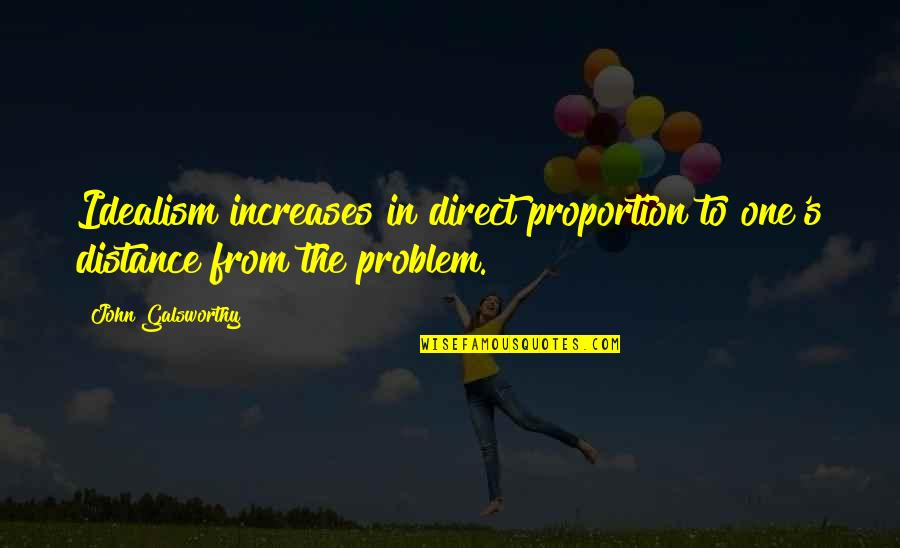 Proportion'd Quotes By John Galsworthy: Idealism increases in direct proportion to one's distance