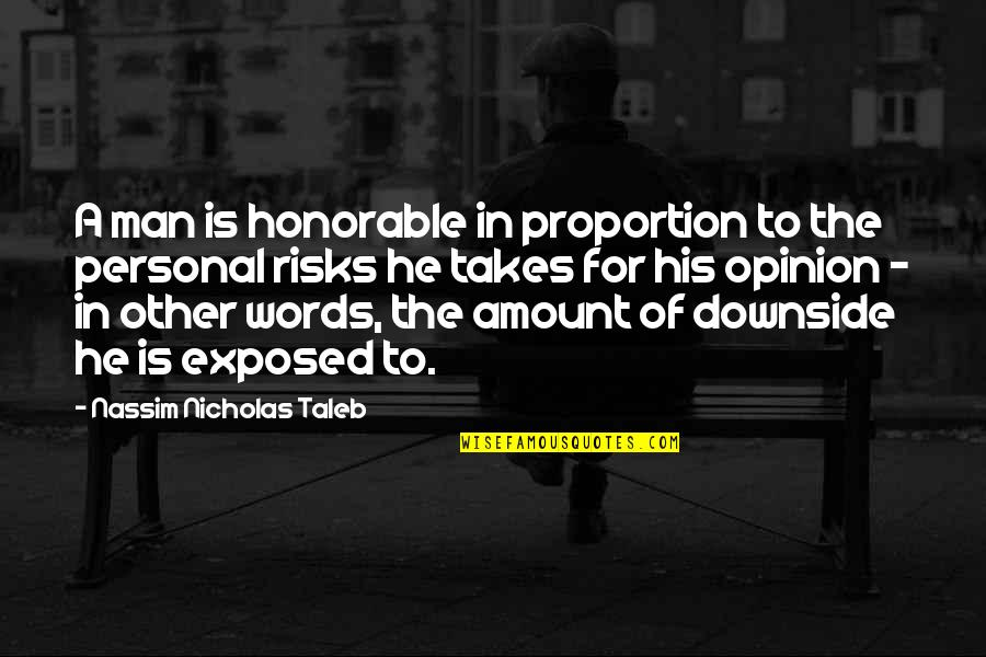 Proportion'd Quotes By Nassim Nicholas Taleb: A man is honorable in proportion to the