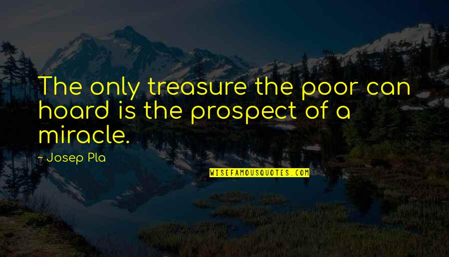 Prospect Quotes By Josep Pla: The only treasure the poor can hoard is