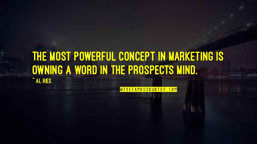 Prospects Quotes By Al Ries: The most powerful concept in marketing is owning