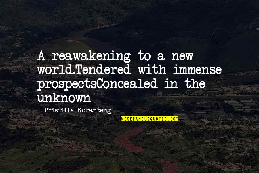 Prospects Quotes By Priscilla Koranteng: A reawakening to a new world.Tendered with immense
