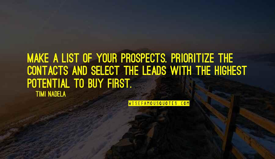 Prospects Quotes By Timi Nadela: Make a list of your prospects. Prioritize the