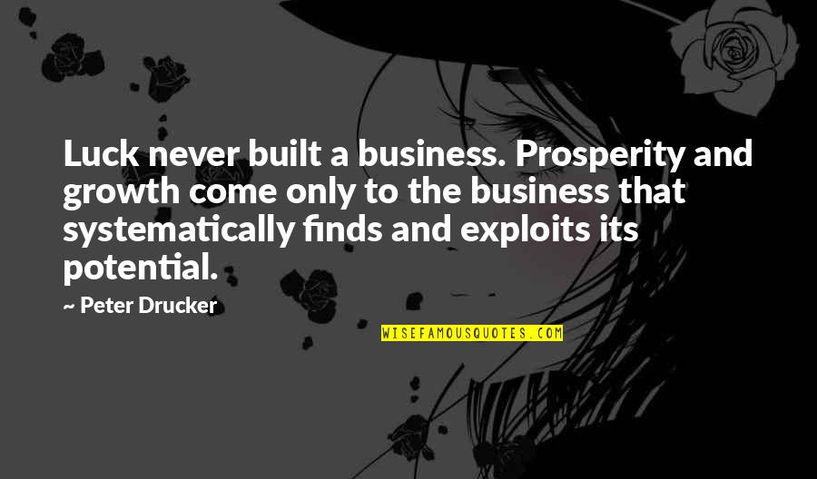 Prosperity In Business Quotes By Peter Drucker: Luck never built a business. Prosperity and growth