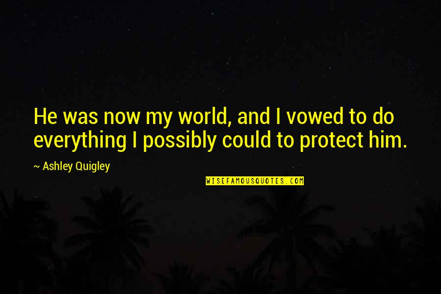 Protect Him Quotes By Ashley Quigley: He was now my world, and I vowed