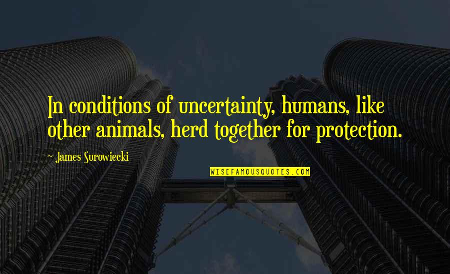 Protection Quotes By James Surowiecki: In conditions of uncertainty, humans, like other animals,