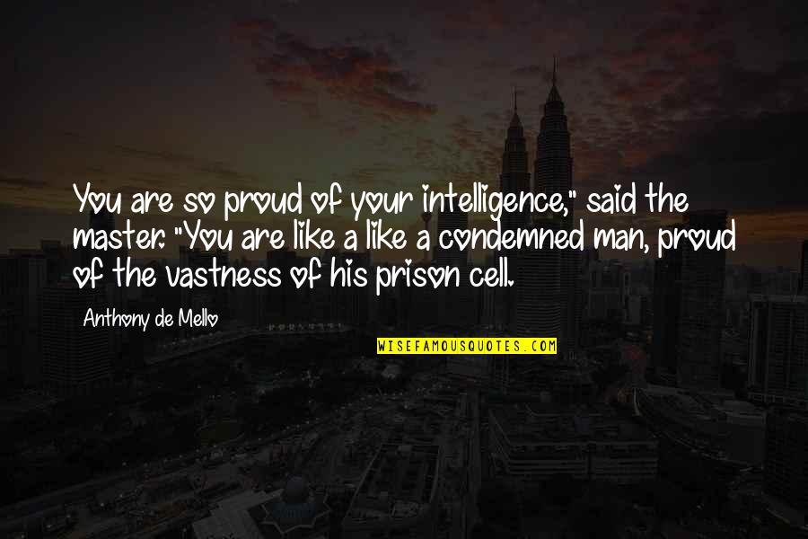 "Proud Of Your Man Quotes By Anthony De Mello: You are so proud of your intelligence,"" said"