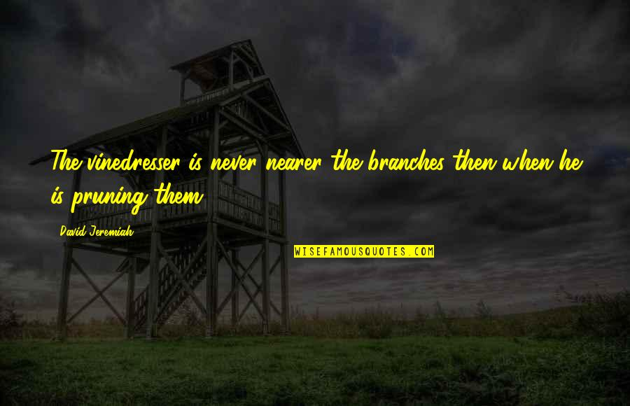 Pruning Quotes By David Jeremiah: The vinedresser is never nearer the branches then