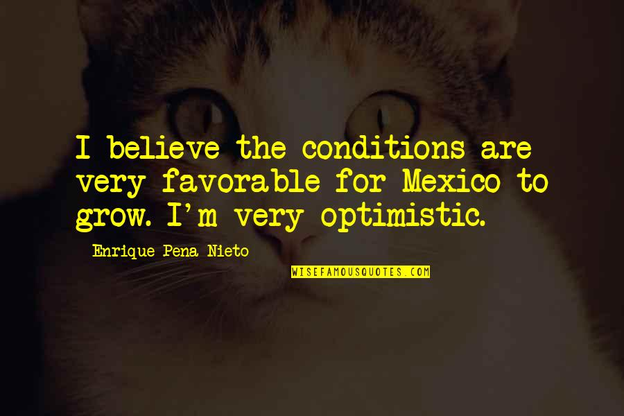 Pseudointellectually Quotes By Enrique Pena Nieto: I believe the conditions are very favorable for