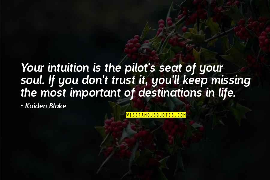 Psychic Quotes By Kaiden Blake: Your intuition is the pilot's seat of your