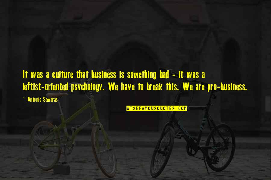 Psychology And Business Quotes By Antonis Samaras: It was a culture that business is something