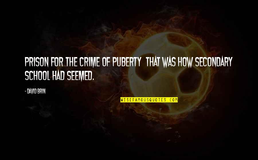 Puberty Quotes By David Brin: Prison for the crime of puberty that was