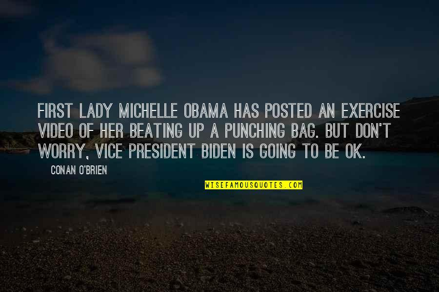 Punching Quotes By Conan O'Brien: First Lady Michelle Obama has posted an exercise