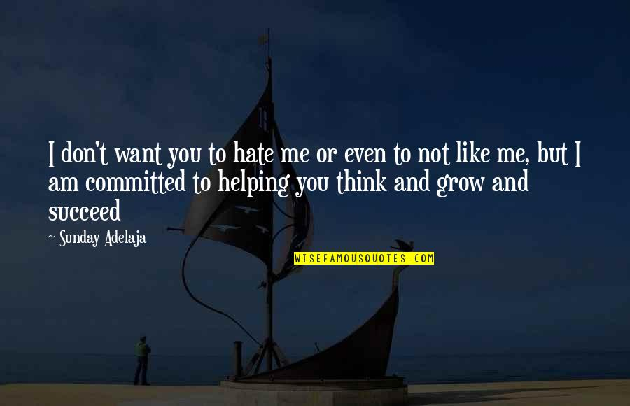 Purpose And Commitment Quotes By Sunday Adelaja: I don't want you to hate me or