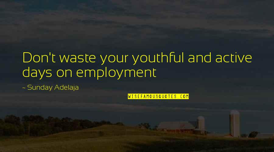 Purpose And Destiny Quotes By Sunday Adelaja: Don't waste your youthful and active days on