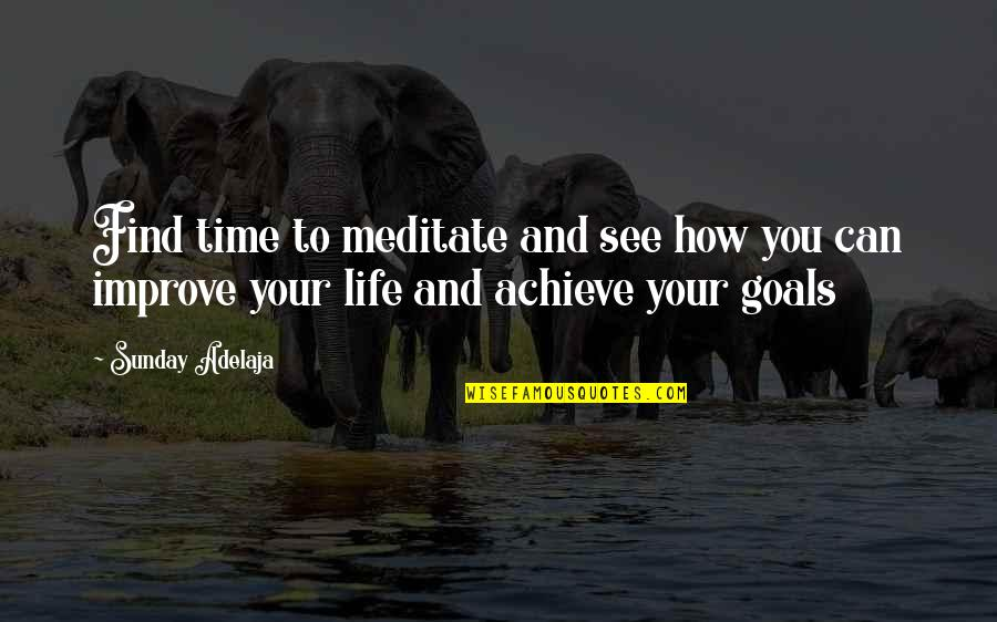 Purpose And Destiny Quotes By Sunday Adelaja: Find time to meditate and see how you