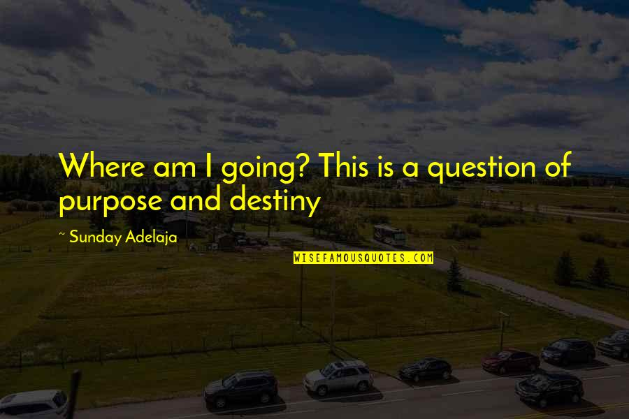 Purpose And Destiny Quotes By Sunday Adelaja: Where am I going? This is a question