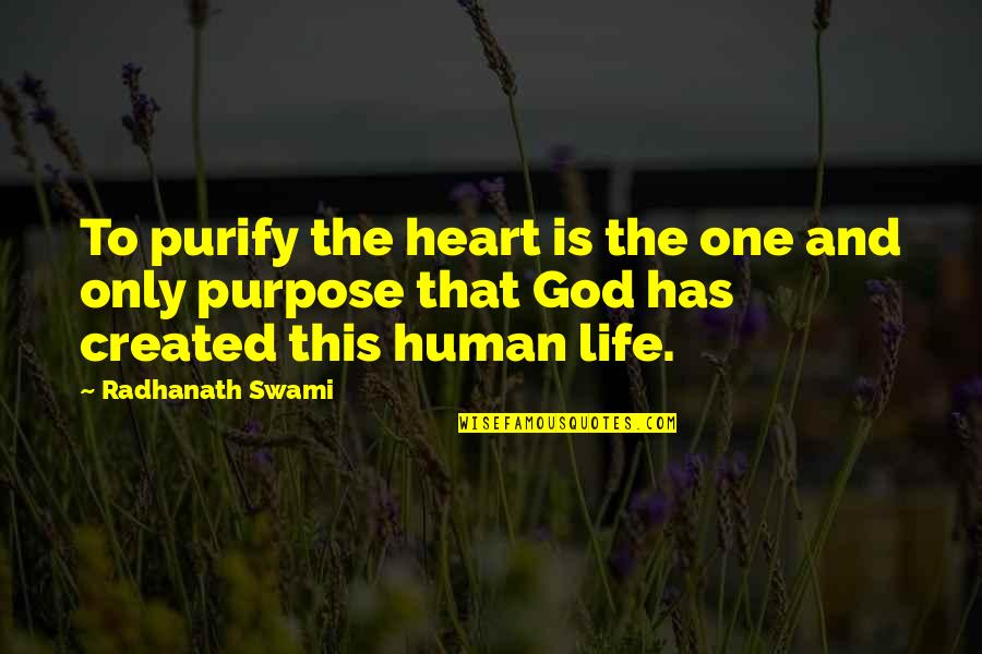 Purpose And God Quotes By Radhanath Swami: To purify the heart is the one and