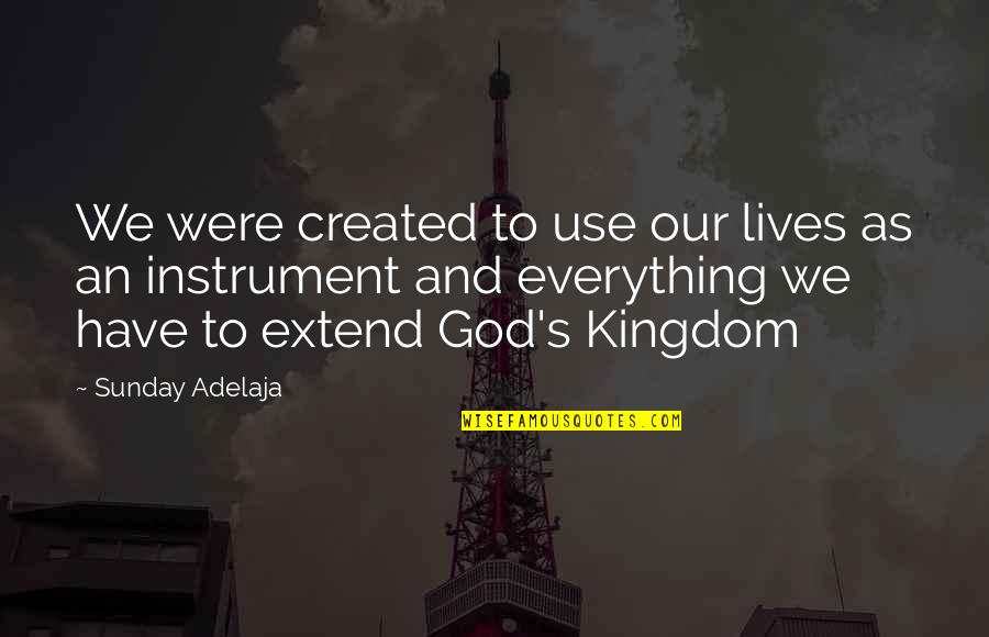 Purpose And God Quotes By Sunday Adelaja: We were created to use our lives as