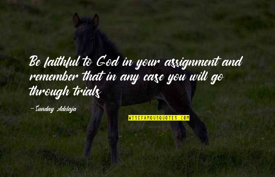 Purpose And God Quotes By Sunday Adelaja: Be faithful to God in your assignment and