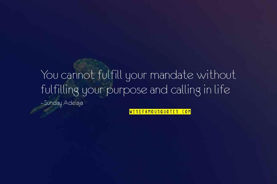 Purpose And God Quotes By Sunday Adelaja: You cannot fulfill your mandate without fulfilling your
