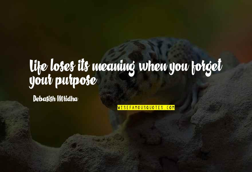 Purpose In Life Inspirational Quotes By Debasish Mridha: Life loses its meaning when you forget your