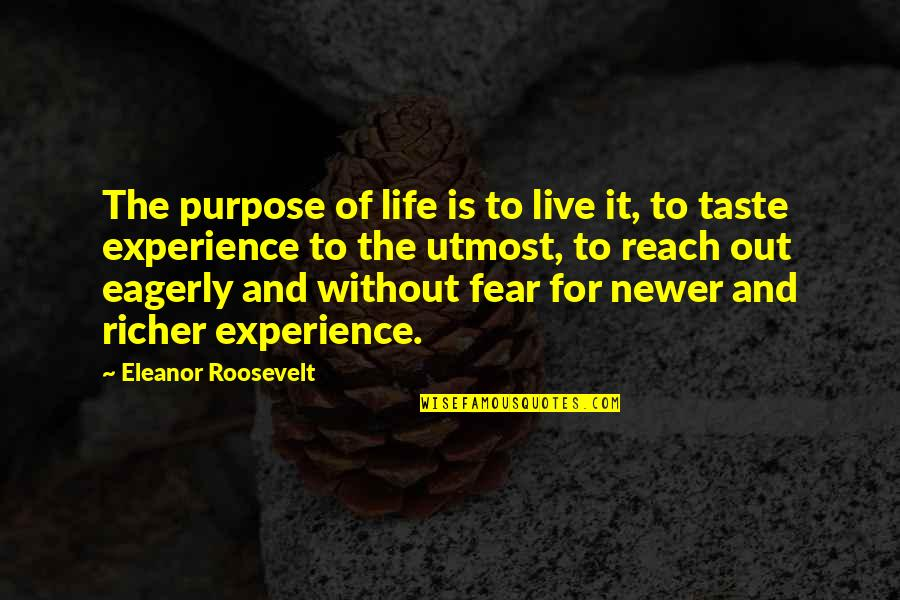 Purpose In Life Inspirational Quotes By Eleanor Roosevelt: The purpose of life is to live it,