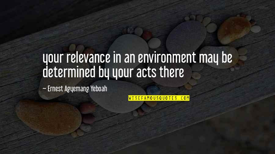 Purpose In Life Inspirational Quotes By Ernest Agyemang Yeboah: your relevance in an environment may be determined