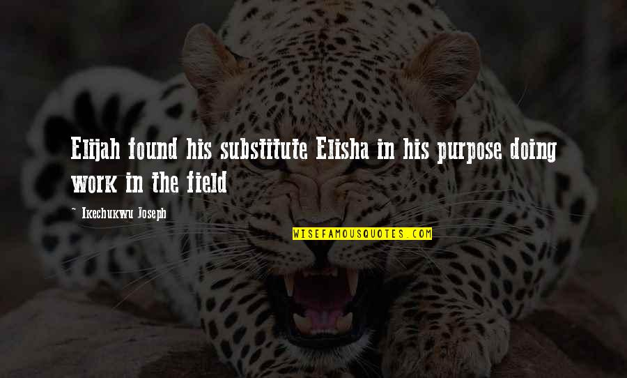 Purpose In Work Quotes By Ikechukwu Joseph: Elijah found his substitute Elisha in his purpose