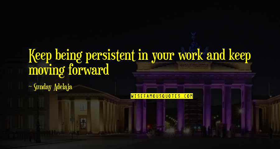 Purpose In Work Quotes By Sunday Adelaja: Keep being persistent in your work and keep