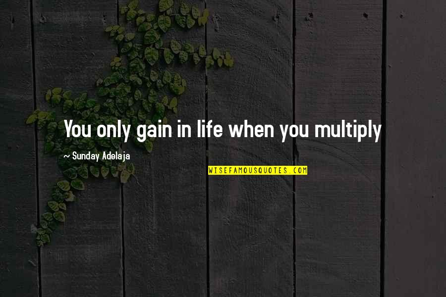 Purpose In Work Quotes By Sunday Adelaja: You only gain in life when you multiply