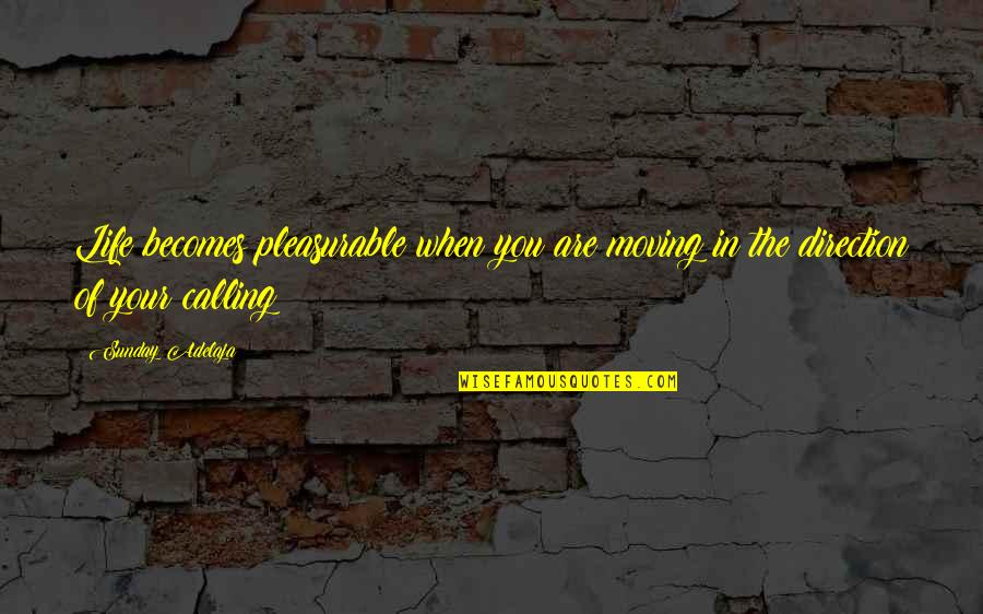 Purpose In Work Quotes By Sunday Adelaja: Life becomes pleasurable when you are moving in
