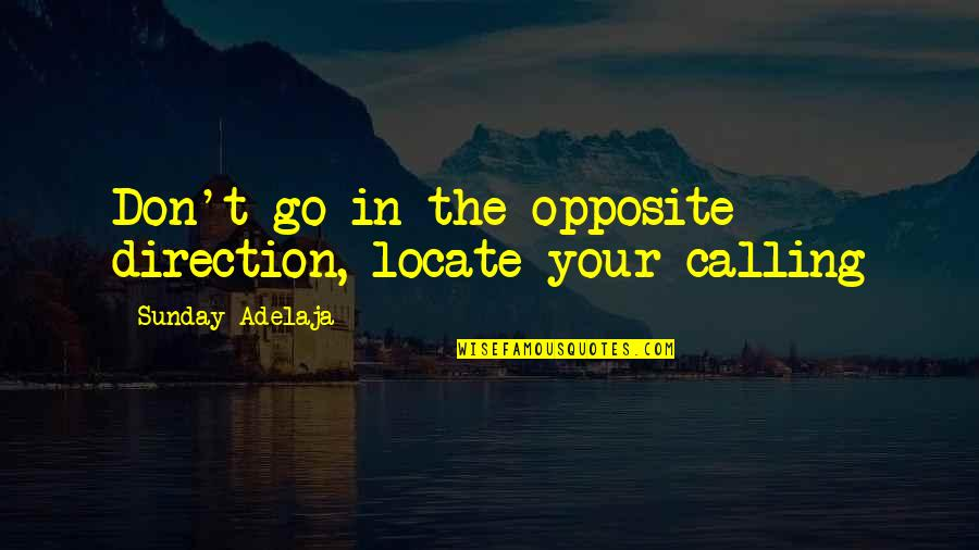 Purpose In Work Quotes By Sunday Adelaja: Don't go in the opposite direction, locate your
