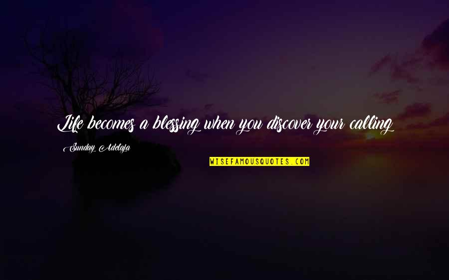 Purpose In Work Quotes By Sunday Adelaja: Life becomes a blessing when you discover your