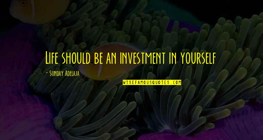 Purpose In Work Quotes By Sunday Adelaja: Life should be an investment in yourself