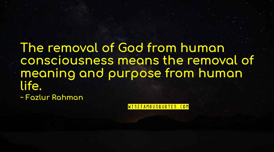 Purpose Of Human Life Quotes By Fazlur Rahman: The removal of God from human consciousness means
